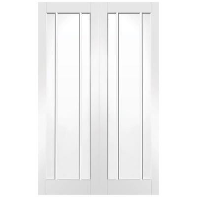 XL Joinery Internal White Primed Worcester 3L Clear Glazed Door Pair