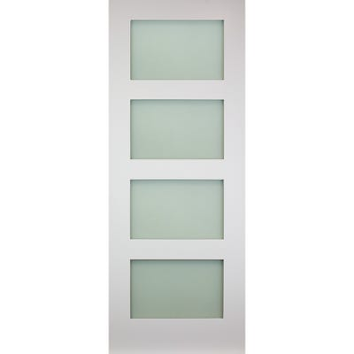 Deanta Internal White Primed Coventry 4L Frosted Glazed Door