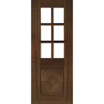 Deanta Internal Walnut Kensington Prefinished 6L Clear Glazed Door