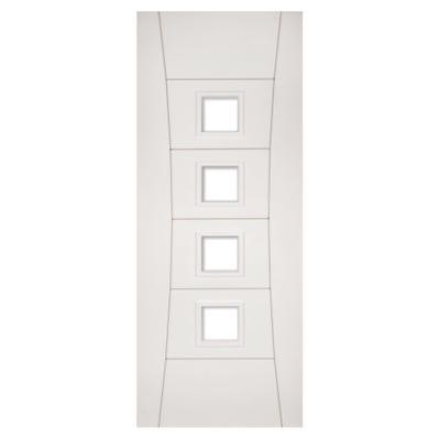 Deanta Internal White Primed Pamplona 4L Clear Glazed Door