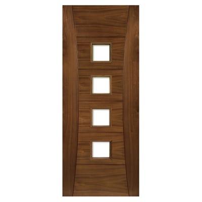 Deanta Internal Walnut Pamplona 4L Prefinished Clear Glazed Door