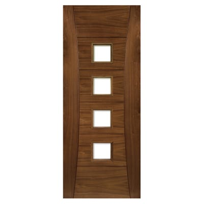 Deanta Internal Walnut Pamplona 4L Prefinished Clear Glazed Door