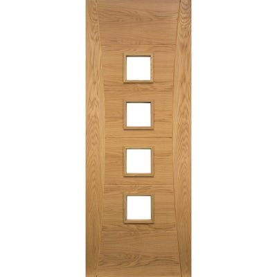 Deanta Internal Oak Pamplona 4L Prefinished Clear Glazed Door