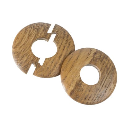 Solid Oak Radiator Pipe Cover 15mm Smoked Pack of 2