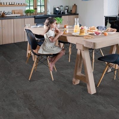 Quick Step Livyn Ambient Click AMCL40035 Black Slate Vinyl Flooring