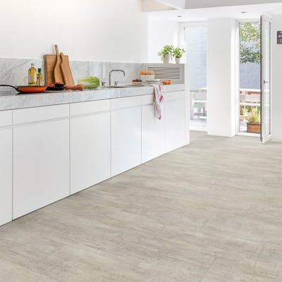 Quick Step Livyn Ambient Click AMCL40047 Light Grey Travertine Vinyl Flooring