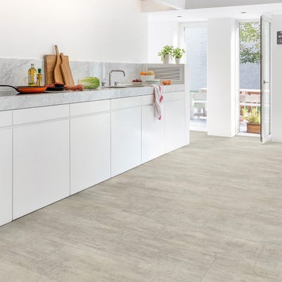 Quick Step Livyn Ambient Click+ AMCP40047 Light Grey Travertine Vinyl Flooring