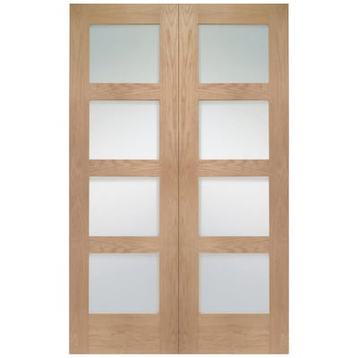 XL Joinery Internal Oak Shaker 4L Clear Glazed Door Pair
