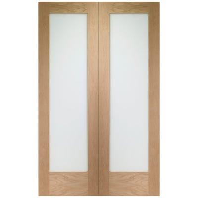 XL Joinery Internal Oak 1L Pattern 10 Clear Glazed Door Pair