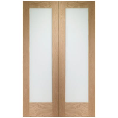 XL Joinery Internal Oak 1L Pattern 10 Clear Glazed Door Pair