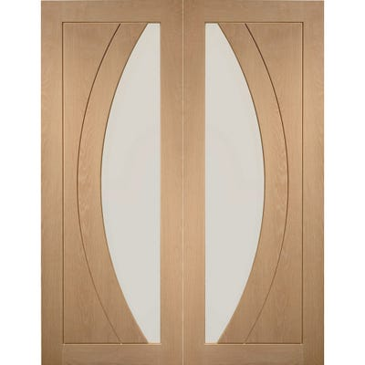 XL Joinery Internal Oak Salerno 1L Clear Glazed Door Pair