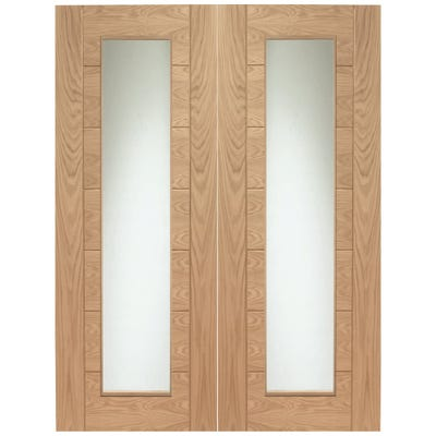 XL Joinery Internal Oak Palermo 1L Clear Glazed Door Pair