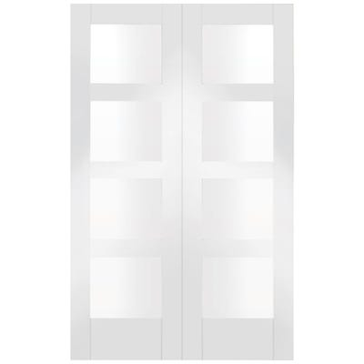 XL Joinery Internal White Primed Shaker 4L Clear Glazed Door Pair