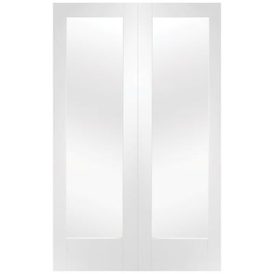 XL Joinery Internal White Primed 1L Pattern 10 Clear Glazed Door Pair