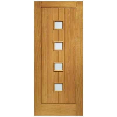 XL Joinery External Oak Siena Prefinished 4L Obscure Glazed Door 1981 x 838 x 44mm
