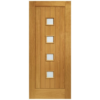 XL Joinery External Oak Siena Prefinished 4L Obscure Glazed Door 1981 x 838 x 44mm