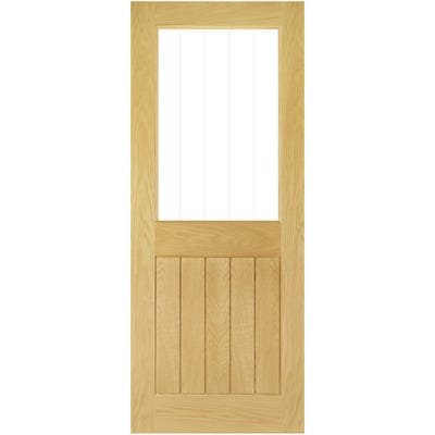 Deanta Internal Oak Ely 1L Prefinished Half Etched Glazed Door