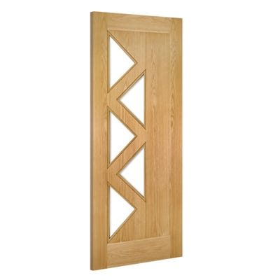 Deanta Internal Oak Ely 5L Prefinished Clear Glazed Door