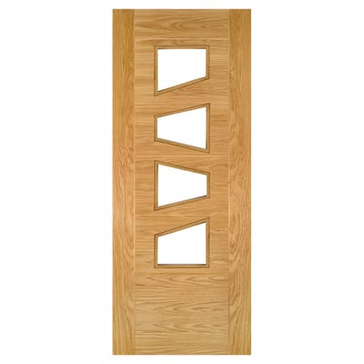 Deanta Internal Oak Seville 4LS Prefinished Clear Glazed Door