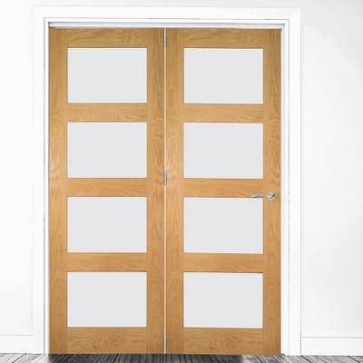 Deanta Internal Oak Coventry Prefinished Clear Glazed 2 Door Room Divider 2060 x 1295 x 133mm