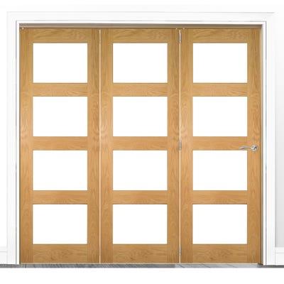Deanta Internal Oak Coventry Prefinished Clear Glazed 3 Door Room Divider 2060 x 1908 x 133mm