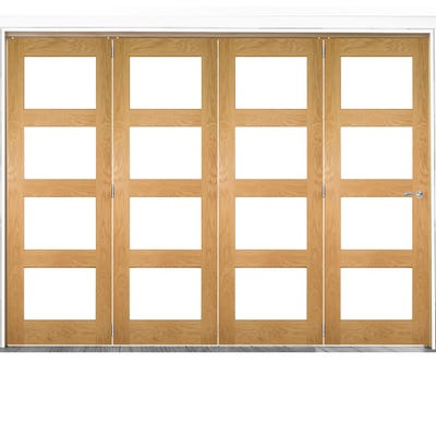 Deanta Internal Oak Coventry Prefinished Clear Glazed 4 Door Room Divider 2060 x 2521 x 133mm