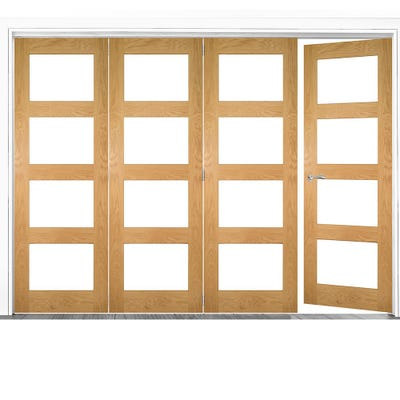 Deanta Internal Oak Coventry Prefinished Clear Glazed 4 (3+1) Door Room Divider 2060 x 2521 x 133mm