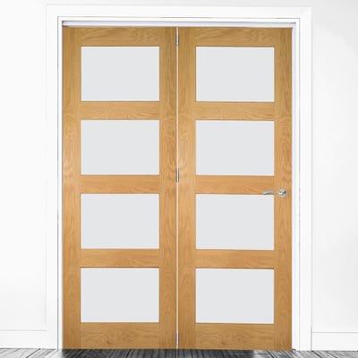 Deanta Internal Oak Coventry Prefinished Clear Glazed 2 Door Room Divider 2060 x 1447 x 133mm