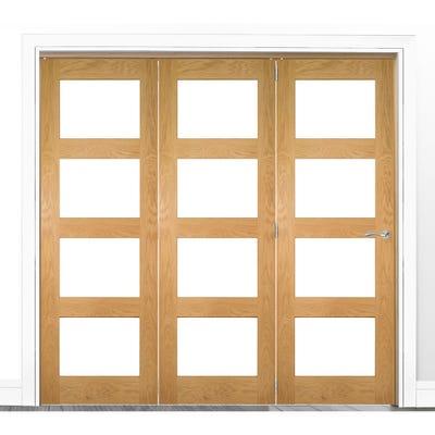 Deanta Internal Oak Coventry Prefinished Clear Glazed 3 Door Room Divider 2060 x 2136 x 133mm