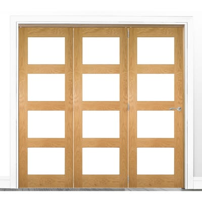 Deanta Internal Oak Coventry Prefinished Clear Glazed 3 Door Room Divider 2060 x 2136 x 133mm