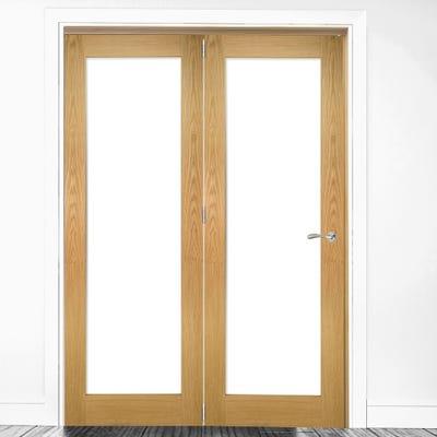Deanta Internal Oak Walden Pattern 10 Clear Glazed 2 Door Room Divider 2060 x 1295 x 133mm