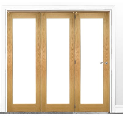Deanta Internal Oak Walden Pattern 10 Clear Glazed 3 Door Room Divider 2060 x 1908 x 133mm