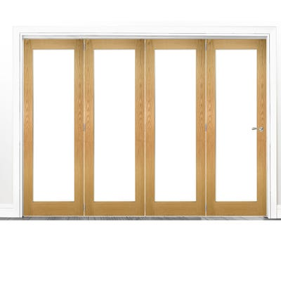 Deanta Internal Oak Walden Pattern 10 Clear Glazed 4 Door Room Divider 2060 x 2521 x 133mm
