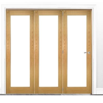 Deanta Internal Oak Walden Pattern 10 Clear Glazed 3 Door Room Divider 2060 x 2136 x 133mm