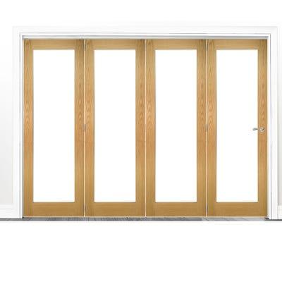 Deanta Internal Oak Walden Pattern 10 Clear Glazed 4 Door Room Divider 2060 x 2825 x 133mm