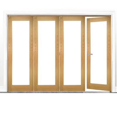 Deanta Internal Oak Walden Pattern 10 Clear Glazed 4 (3+1) Door Room Divider 2060 x 2825 x 133mm