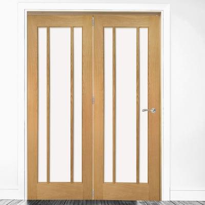 Deanta Internal Oak Norwich Clear Glazed 2 Door Room Divider 2060 x 1295 x 133mm