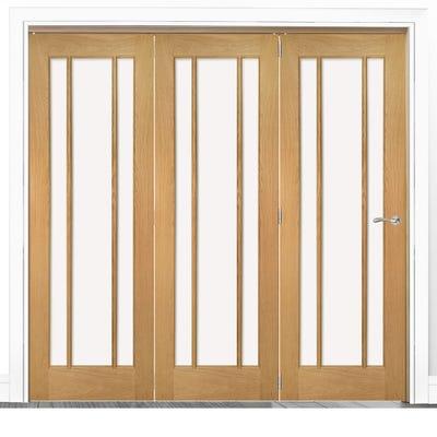 Deanta Internal Oak Norwich Clear Glazed 3 Door Room Divider 2060 x 1908 x 133mm