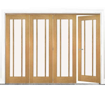 Deanta Internal Oak Norwich Clear Glazed 4 (3+1) Door Room Divider 2060 x 2521 x 133mm