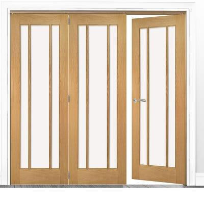 Deanta Internal Oak Norwich Clear Glazed 3 (2+1) Door Room Divider 2060 x 2136 x 133mm