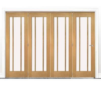 Deanta Internal Oak Norwich Clear Glazed 4 Door Room Divider 2060 x 2825 x 133mm