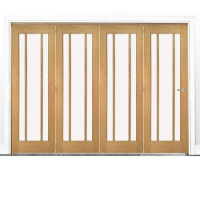 Deanta Internal Oak Norwich Clear Glazed 4 Door Room Divider 2060 x 2825 x 133mm