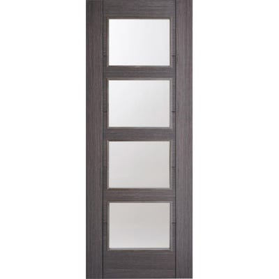 LPD Internal Ash Grey Vancouver Prefinished 4L Clear Glazed Door