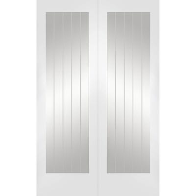 XL Joinery Internal White Primed Suffolk 1L Etched Glazed Door Pair