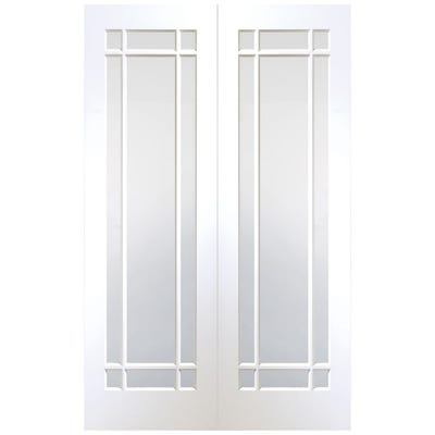 XL Joinery Internal White Primed Cheshire 9L Clear Glazed Door Pair