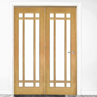 Deanta Internal Oak Kerry Clear Glazed 2 Door Room Divider 2060 x 1295 x 133mm