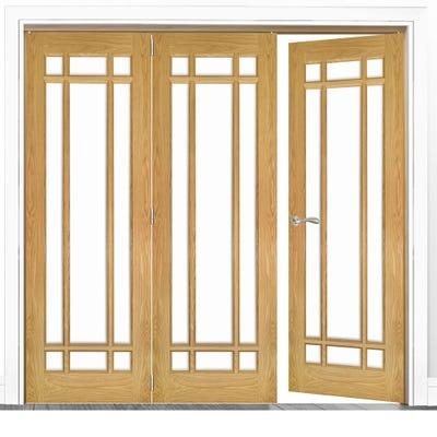 Deanta Internal Oak Kerry Clear Glazed 3 (2+1) Door Room Divider 2060 x 1908 x 133mm