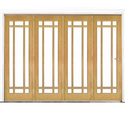 Deanta Internal Oak Kerry Clear Glazed 4 Door Room Divider 2060 x 2521 x 133mm