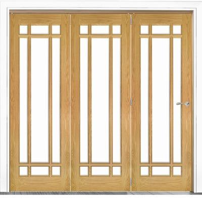 Deanta Internal Oak Kerry Clear Glazed 3 Door Room Divider 2060 x 2136 x 133mm
