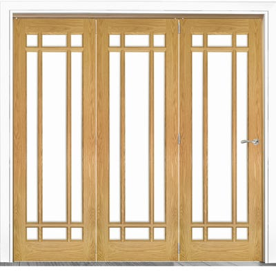 Deanta Internal Oak Kerry Clear Glazed 3 Door Room Divider 2060 x 2136 x 133mm